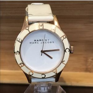 Marc by Marc Jacobs White Leather Gold Tone Watch